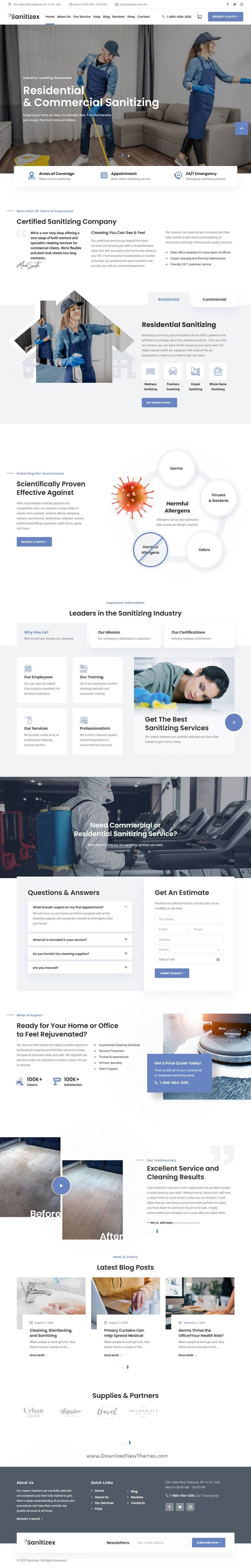 Sanitizing Services WordPress Theme