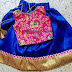 Blue and Pink Silk Crop Top