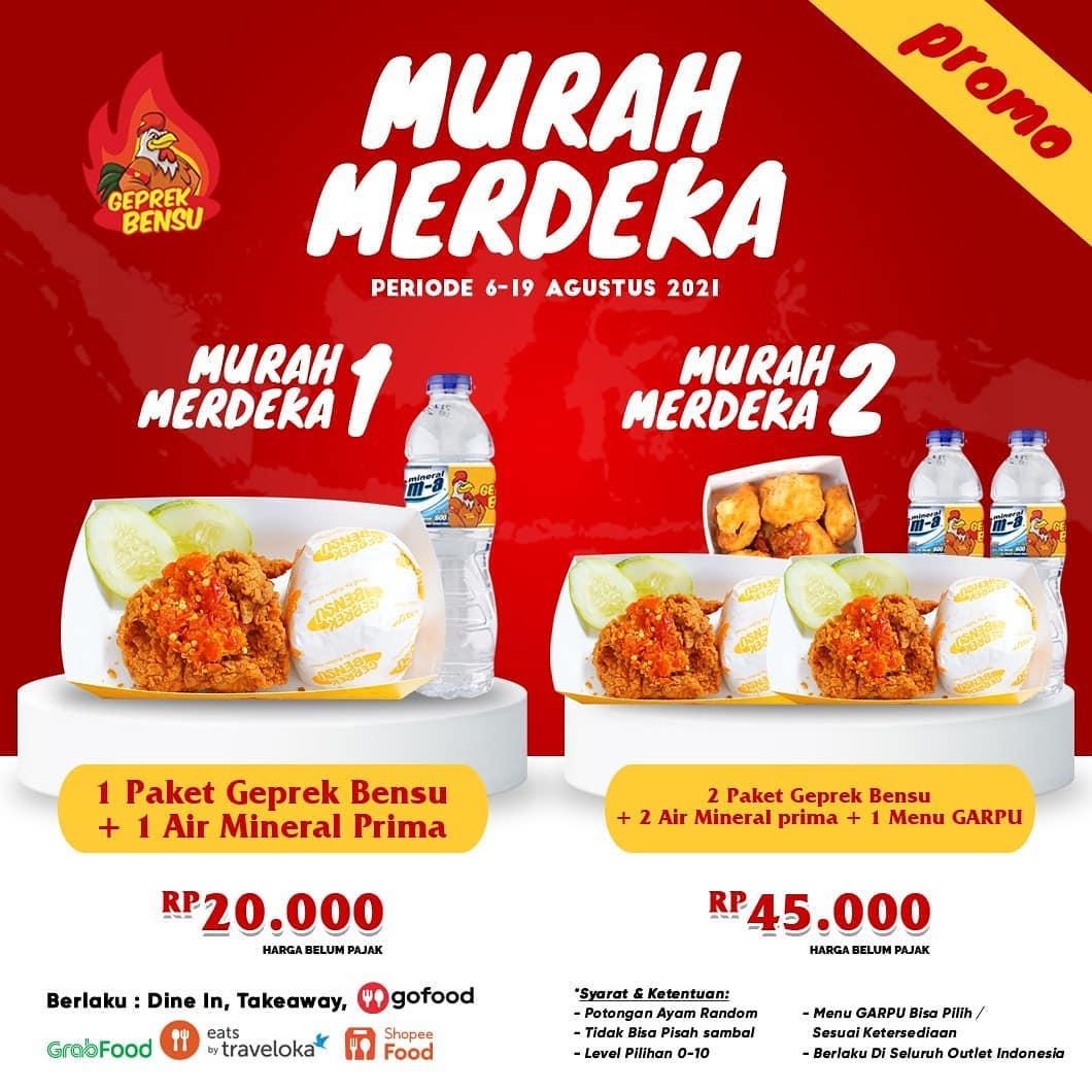 Geprek Bensu Promo Paket Murah Merdeka harga mulai 20 Ribuan
