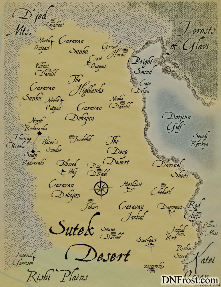 Suteki, proud tongue of the desert tribes. Dialect by D.N.Frost for the TotKW Saga www.DNFrost.com/language
