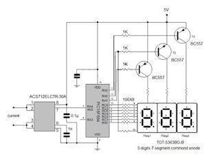 Circuit panel: 3 digits Digital Ammeter using Microcontroller