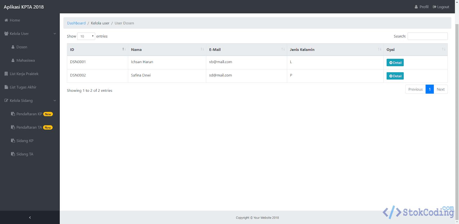 Aplikasi Pengelolaan Kerja Praktek/TA Mahasiswa (PHP)