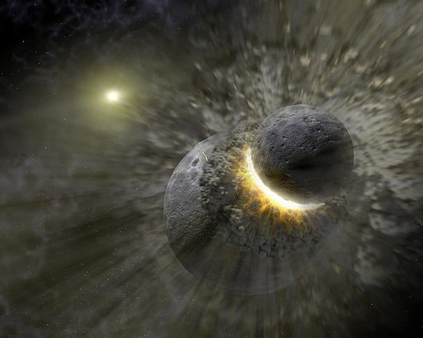 The collision between earth and a Mars-sized body called Theia