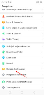 Language settings on the Oppo phone