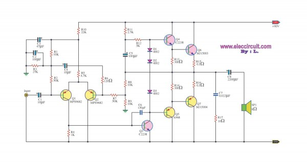 100W OTL power amplfier circuit schematic