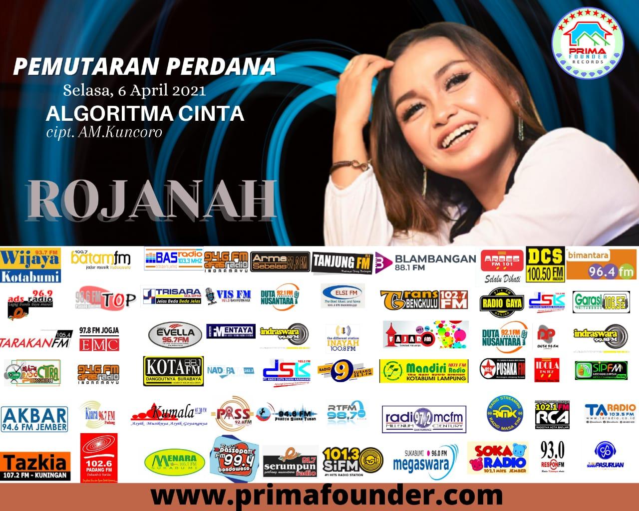 Flayer Rojanah rilis lagu Algoritma Cinta karya AM. Kuncoro di 60 stasiun radio se-Indonesia. (Dok. Istimewa)