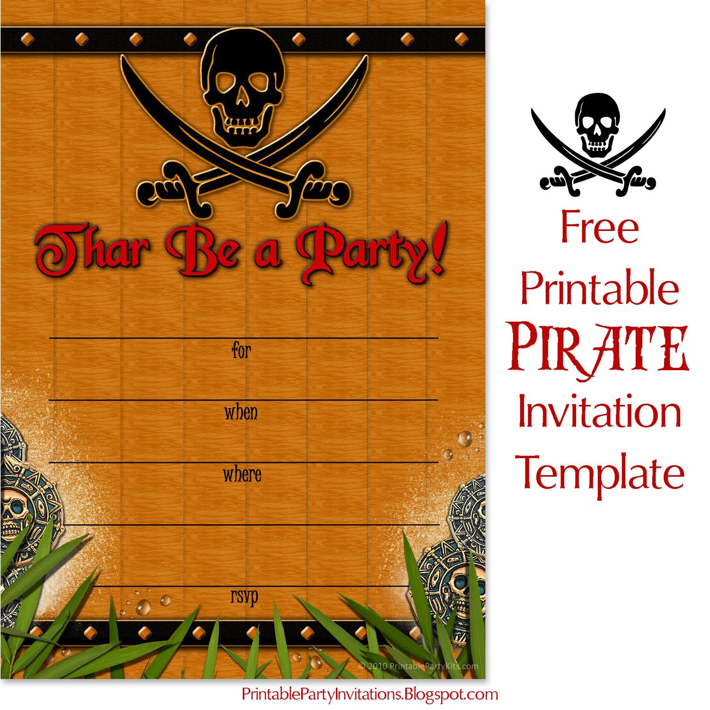 crossbones pirate invitation template
