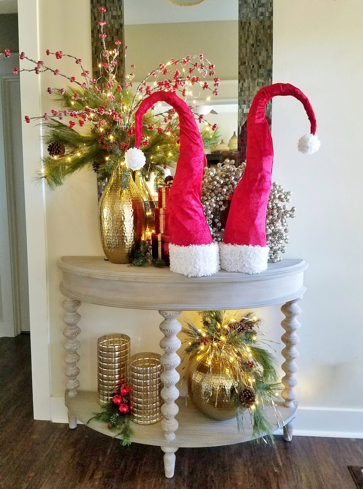 Santa hat decor diy tall whimsical santa hats lucy designs for Whimsical decor