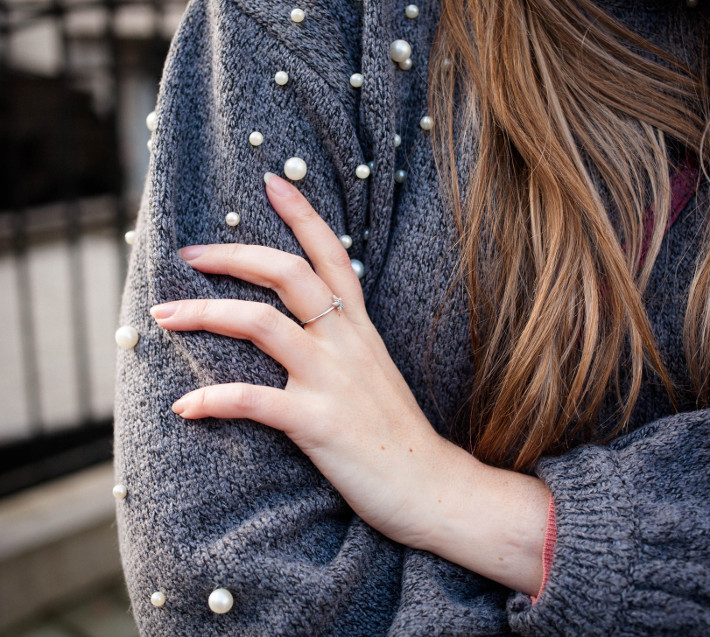 Outfit: Pearl sweater, diamanti per tutti ring