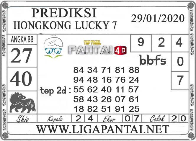 PREDIKSI TOGEL HONGKONG LUCKY7 PANTAI4D 29 JANUARI 2020