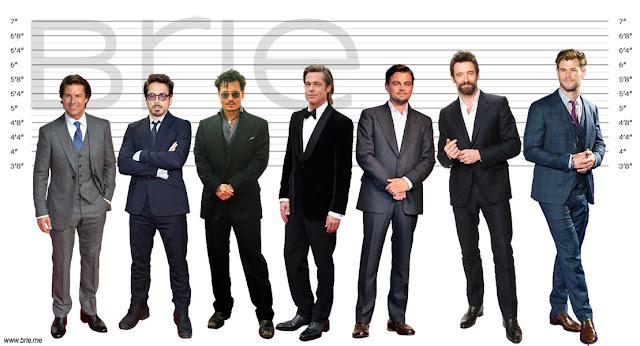 Tom Cruise height comparison with Robert Downey Jr., Johnny Depp, Brad Pitt, Leonardo DiCaprio, Hugh Jackman and Chris Hemsworth