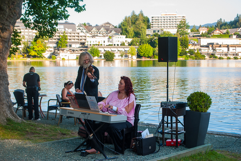 Live performances and music while dining in a restaurant beside lake bled, slovenia