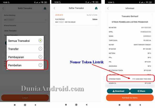 Nota pmbelian token listrik via BNI Mobile