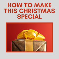 The top half of a Christmas gift wrapped in gold paper with a bow