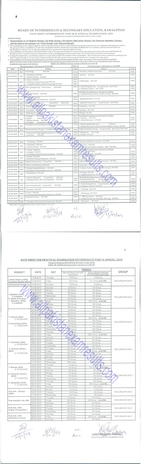BISE Rawalpindi Inter Date Sheet 2019