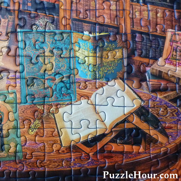 Open books book themed jigsaw puzzle Fantasy bookshop detail