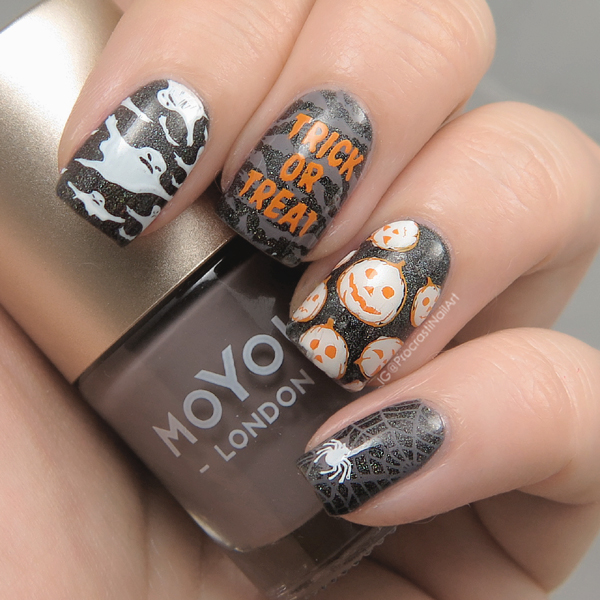 Spooky and easy Halloween nails with stamping and glitter