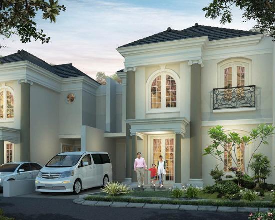 tampak depan rumah minimalis ukuran 10x20 meter 4 kamar tidur 2 lantai