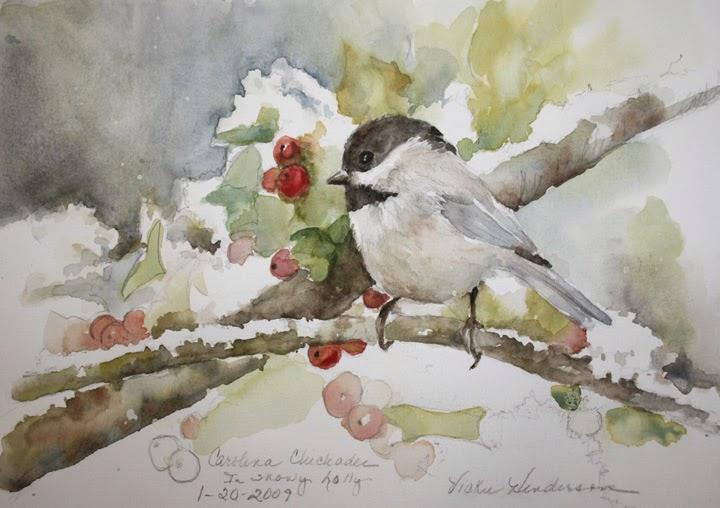 Vickie S Sketchbook Carolina Chickadee In Snowy Holly