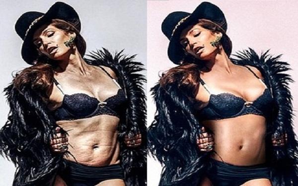 15 famosas antes e depois do Photoshop (Imagem: Reprodução/Internet)