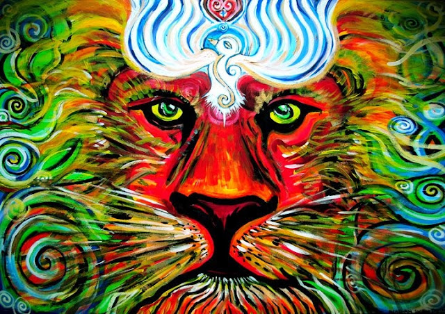 Gorgeous Colorful Revel Lion Painting by Nathan Jalani Taylor