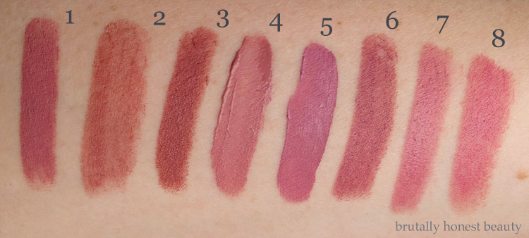 Swatches of Urban Decay Backtalk, Bite Beauty Pepper, Bite Beauty Matte Crème Lip Crayon in Glacé, BareMinerals GEN NUDE Liquid Lipstick in Swag,  Kat Von D Everlasting Liquid Lipstick in Lovesick, Make Up For Ever Artist Rouge Lipstick in Rosewood, Bite Beauty Amuse Bouche Lipstick in Fig