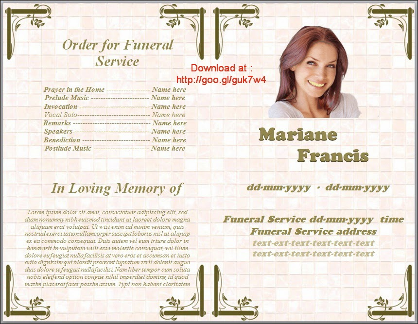Funeral Booklet Template sample funeral program template 30 – Sample of Funeral Programs