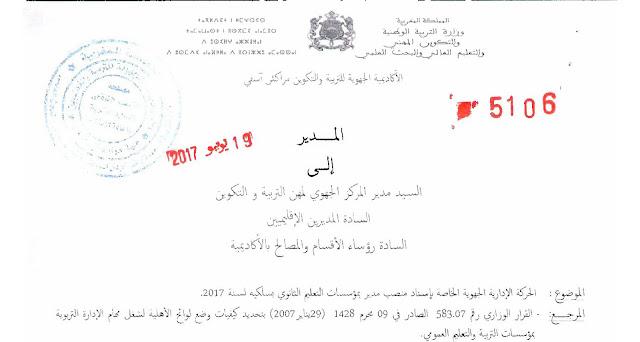 إسناد منصب مدير بمؤسسات التعليم الثانوي - 19 يونيو 2017