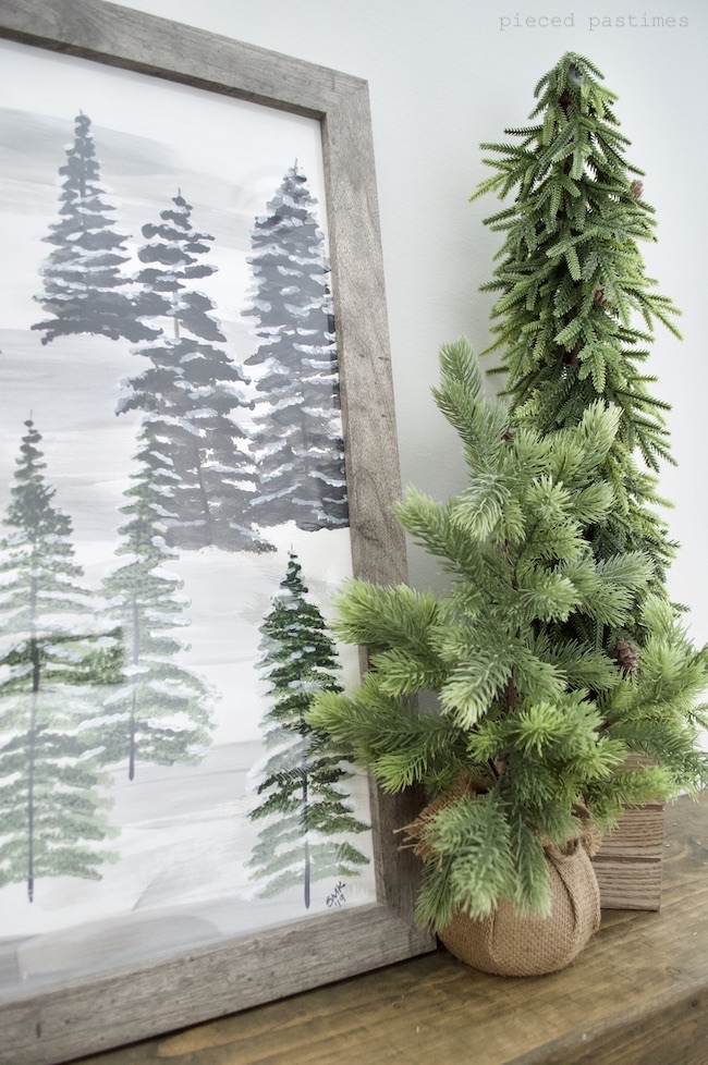 Snow Capped Pines Painting by Pieced Pastimes
