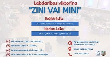 """Sestdien, 31. jūlijā, plkst. 16.00 Biedrība """"Laiks Jauniešiem"""" organizēs komandu labdarības viktorīnu """"Zini vai mini""""."""