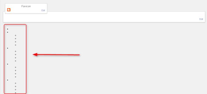 Como eliminar pontos pretos no layout do template do Blogger