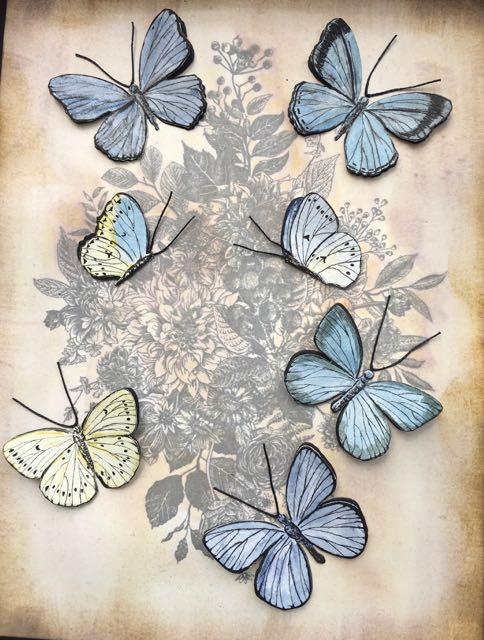 Colored butterflies for vintage botanical print