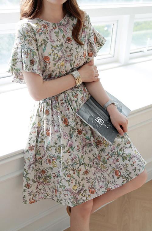 Floral Print Elastic Waist Dress