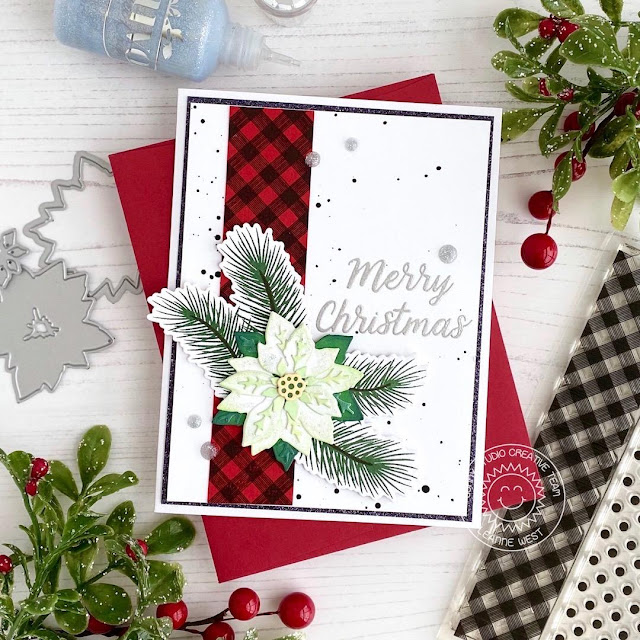 Sunny Studio Stamps: Layered Poinsettia Dies Christmas Trimmings Merry Christmas Card by Leanne West