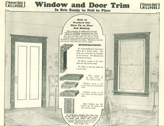 catalog page showing Sears molded cap trim Craftsman stlyle door and window trim in the Sears Building Supplies catalog