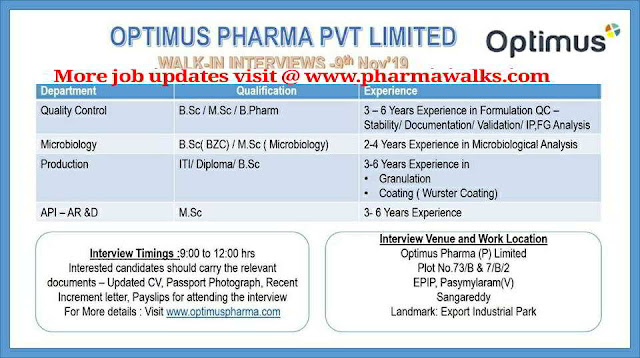 Optimus Pharma - Walk-in interview for Production / QC / Microbiology / AR&D on 9th November, 2019