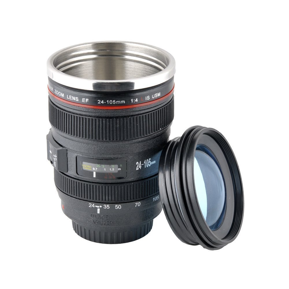 Super savings camera lens travel mug thermos stainless - Travel mug stainless steel interior ...
