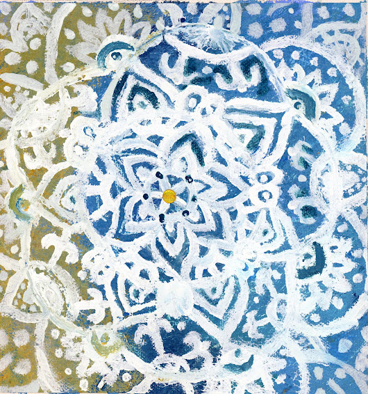 Ocean Snowflake: Acyltics and Mixed Media and Canvas