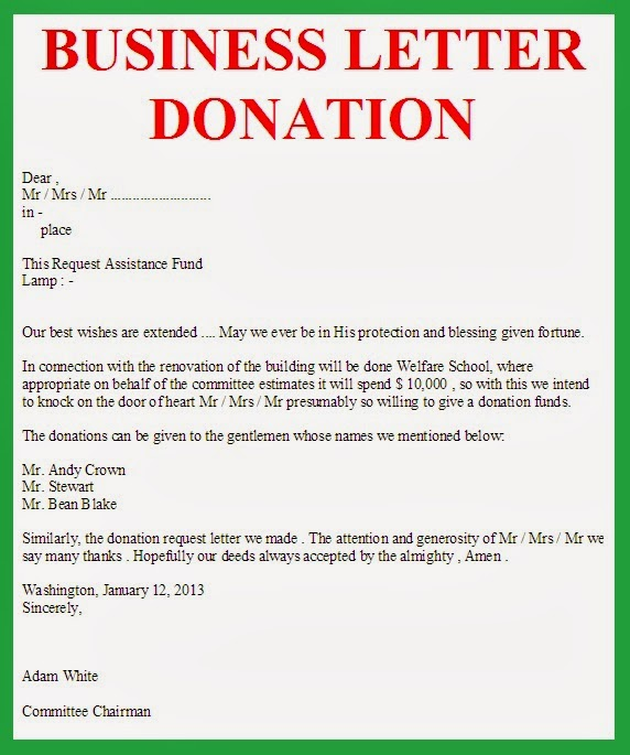 Charity Donation Cover Letter