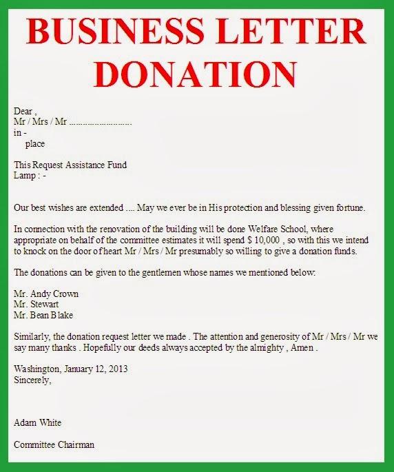 Business Letter: Business Letter Donation
