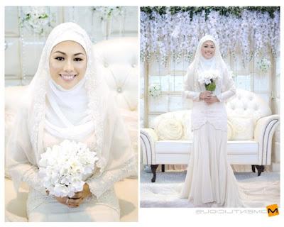 gaun pengantin syar'i putih