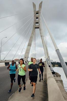 Photo: Facebook founder Mark Zuckerberg takes a run with others on Lekki-Ikoyi link bridge