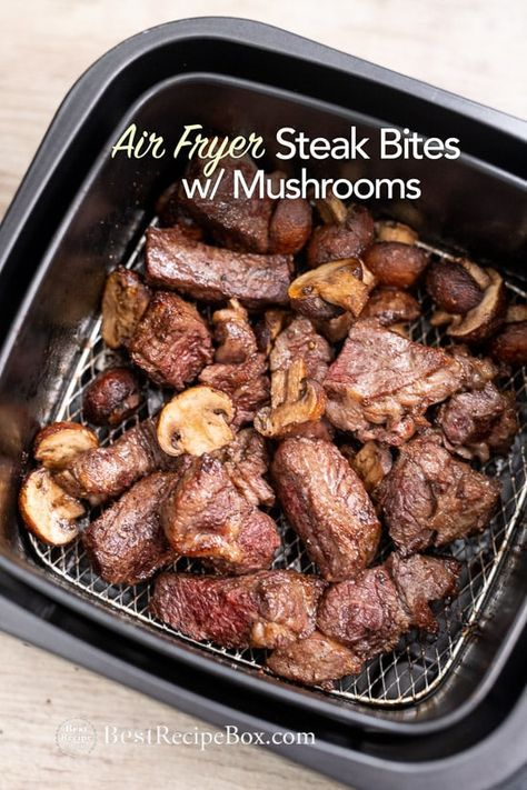 AIR FRYER STEAK BITES AND MUSHROOMS #recipes #chineserecipes #food #foodporn #healthy #yummy #instafood #foodie #delicious #dinner #breakfast #dessert #lunch #vegan #cake #eatclean #homemade #diet #healthyfood #cleaneating #foodstagram