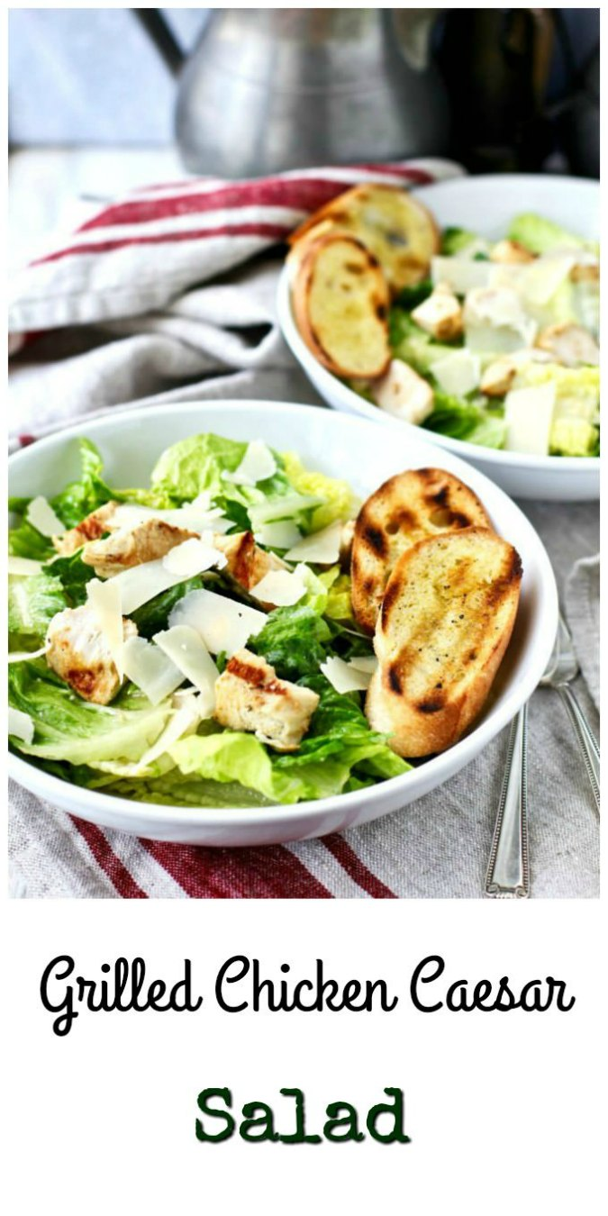 Grilled chicken caesar salad with garlic croutons