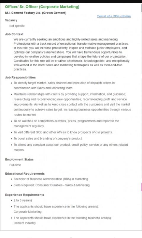 Crwn Cement job circular 2019