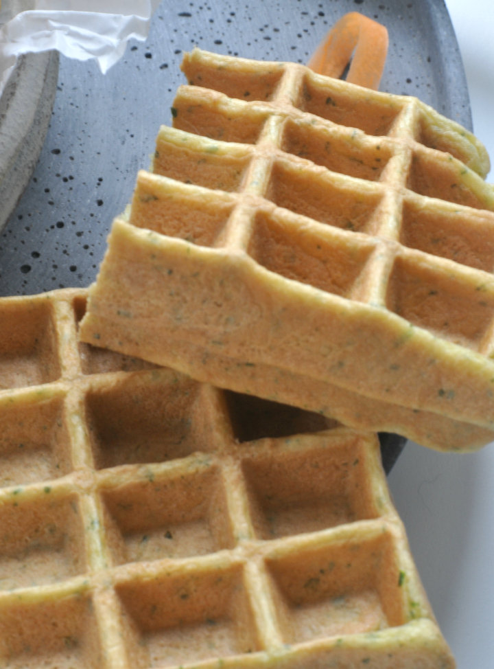 glutenfree, savory Waffles with herbs