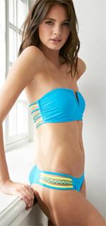 Bikini Bandeau V con tiras de trenza 2017
