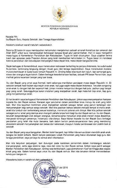 Surat Anies Baswedan di Akhir Jabatan Mendikbud Untuk Seluruh Guru, Kepala Sekolah dan Tenaga Kependidikan