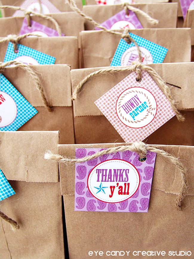 thaks y'all favor tags, goodie bags at cowboy party, gift tags on favor bags