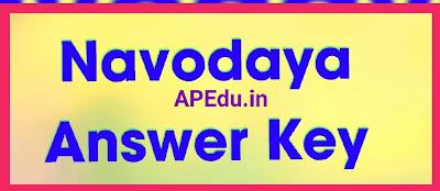 Navodaya Answer Key For 6th Admission Test 2021 Download JNVST 6th Entrance Test Key